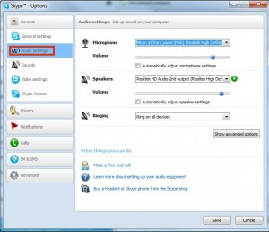 Skype Audio Settings Dialog