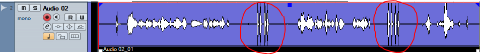 Audio Waveform showing a dog clicker used between passages