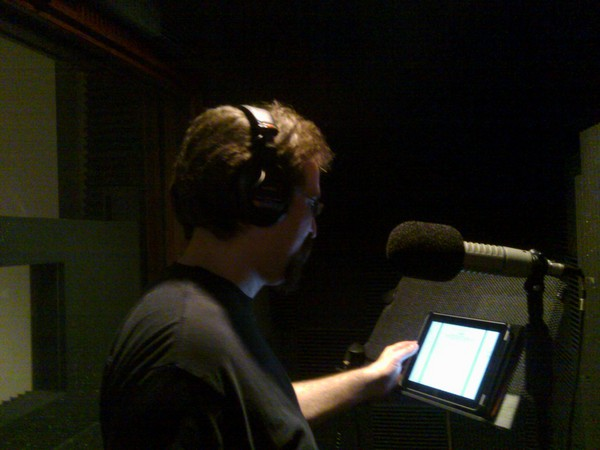 Using the iPad on a copy stand in the booth