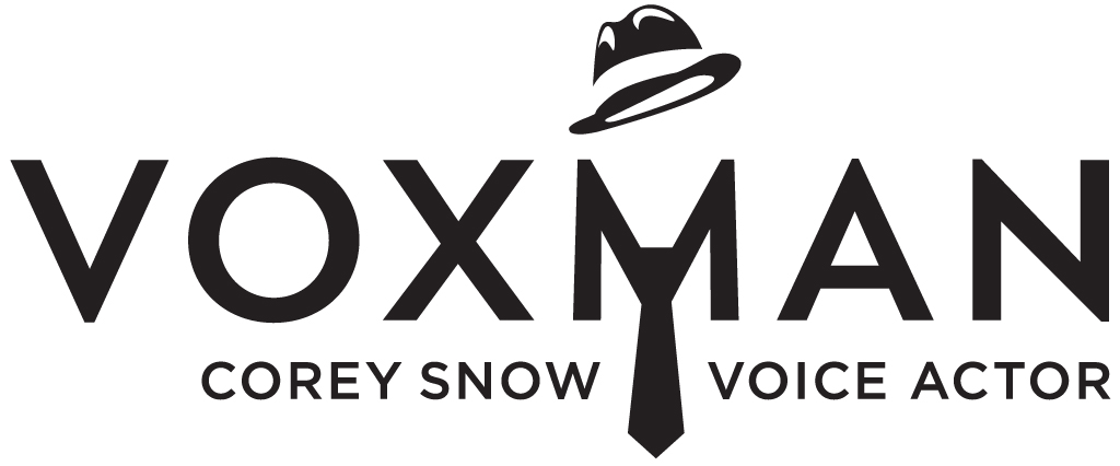 "Logo for VoxMan Voiceovers- the word VOXMAN with a stylized hat above the M and a man's tie below, and the words ""Corey Snow Voice Actor"" underneath."