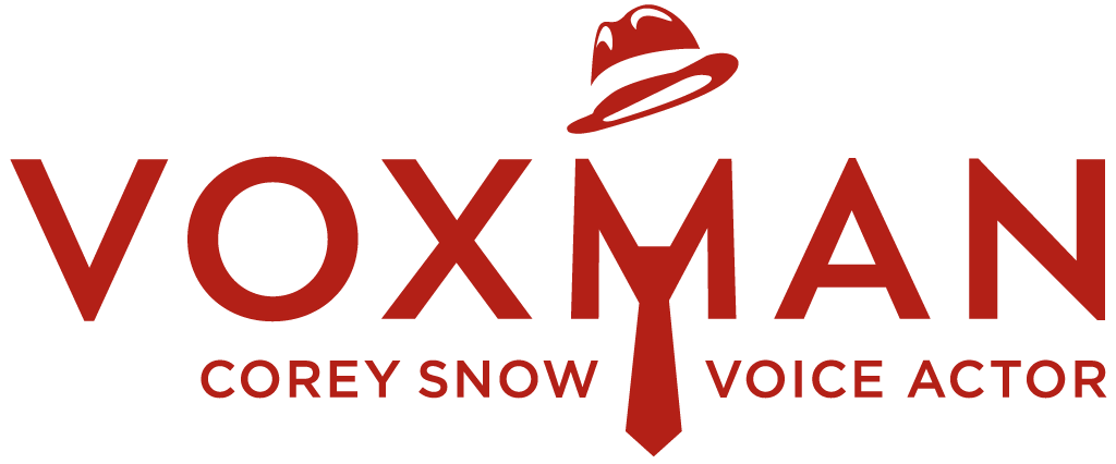 """Logo for VoxMan Voiceovers- the word VOXMAN with a stylized hat above the M and a man's tie below, and the words """"Corey Snow Voice Actor"""" underneath."""